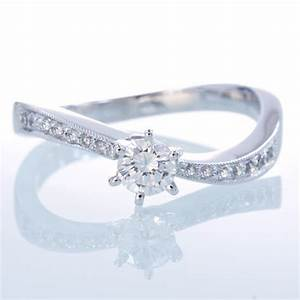 curve wavy design solitaire diamond engagement ring bridal set With wavy wedding ring