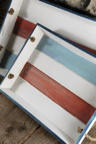 piece distressed wood serving tray set