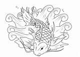 Koi Fish Coloring Pages Print Fishing Adults sketch template