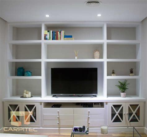 mueble estanteria  salon en pladur  madera lacada en