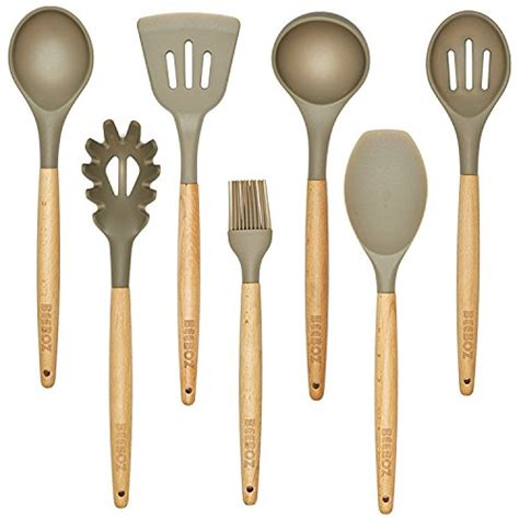 kitchen silicone wood utensils utensil grey beech eco friendly pc amazon nonstick bpa cooking sets gadgets spoon non stick items