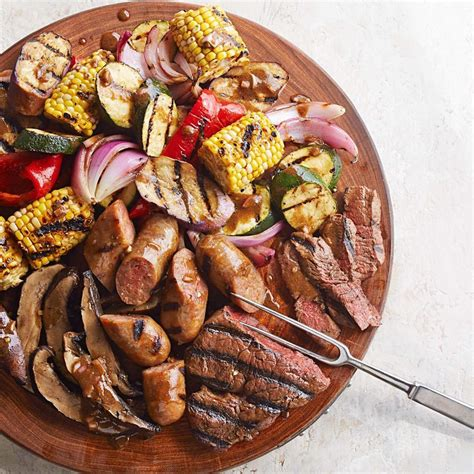 grill cuisine mixed grill with balsamic mustard vegetables recipe eatingwell