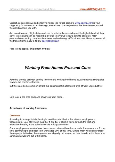 pros and cons of working from home working from home pros and cons from www jobxray