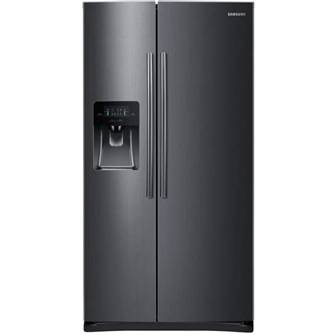 samsung side by side samsung 24 5 cu ft side by side refrigerator in black stainless steel rs25j500dsg the home depot