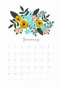 Printable January 2018 Calendar Monthly Planner - Floral ...