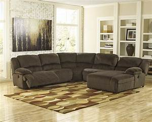 Power reclining sectional with right press back chaise by for Sectional sofas room place