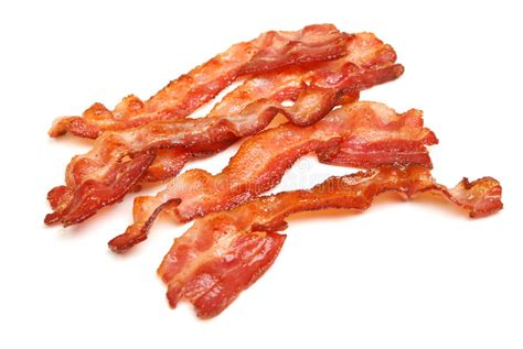 Cooked Bacon Strips Isolated On White Stock Image