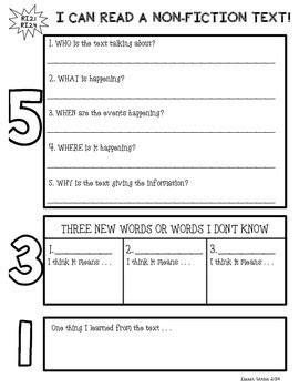 Non-Fiction Text Reponse Graphic Organizer   Skills