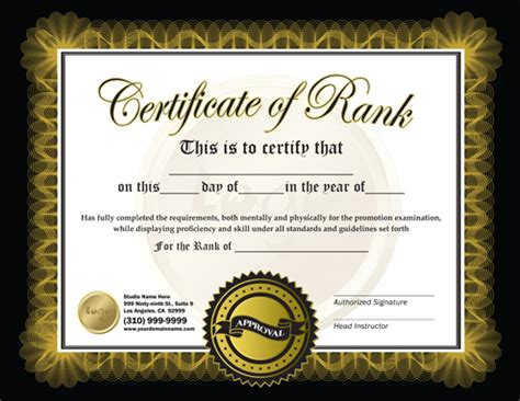 Martial Arts Certificate Template by Rank Certificate 8 5 X 11 Ma010508