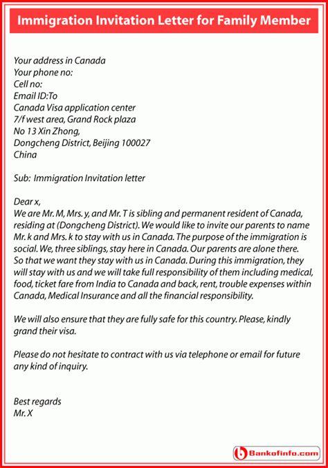 immigration invitation letter  family member