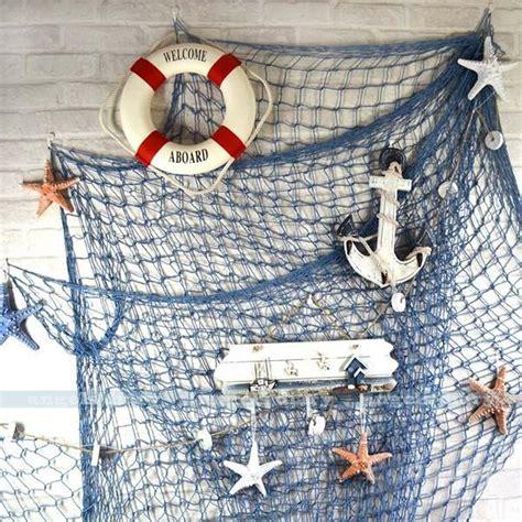 decorative fishing net nautical fishing net seaside wall sea shells