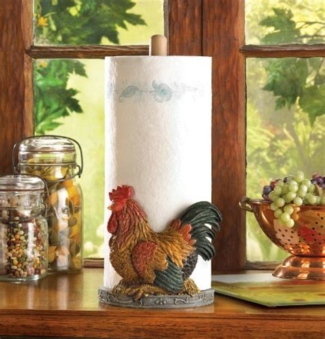 rooster kitchen decor paper towel country chicken holder decoration rustic items popscreen roosters gifts decorative chalkboard primitive amazon countertop