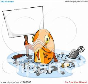 Cartoon of a Sad Fish Holding a Sign in Polluted Water ...