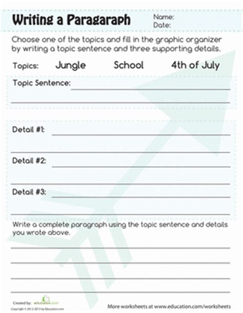 paragraph writing worksheet education