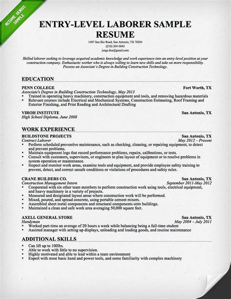 construction experience resumes entry level construction resume sample resume genius