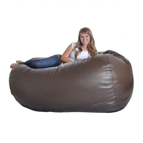 brown faux leather bean bag chair home furniture design
