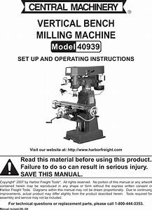 Harbor Freight 9 Speed Vertical Milling Machine Product Manual