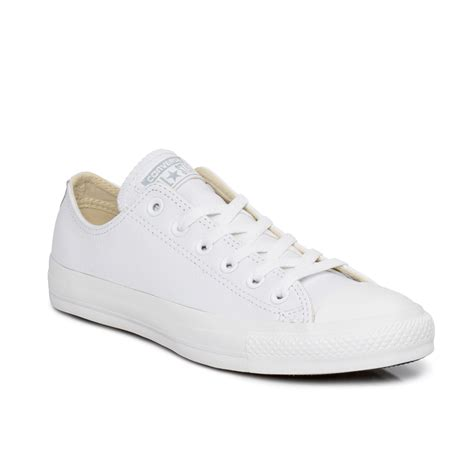 Converse LT White Monochrome Chuck Taylor Leather Trainers