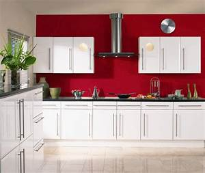 Stunning white gloss kitchen cabinets ideas excellent for Kitchen colors with white cabinets with plum coloured wall art
