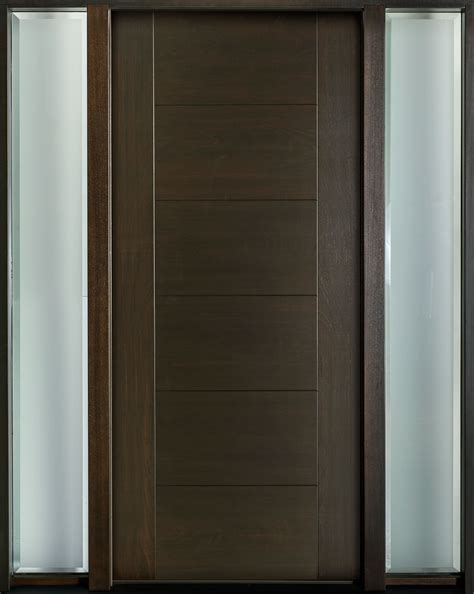 entry door in stock single with 2 sidelites modern