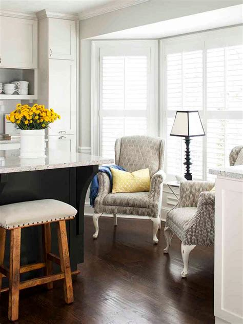 pair  wingback chairs  kitchen sitting area hgtv