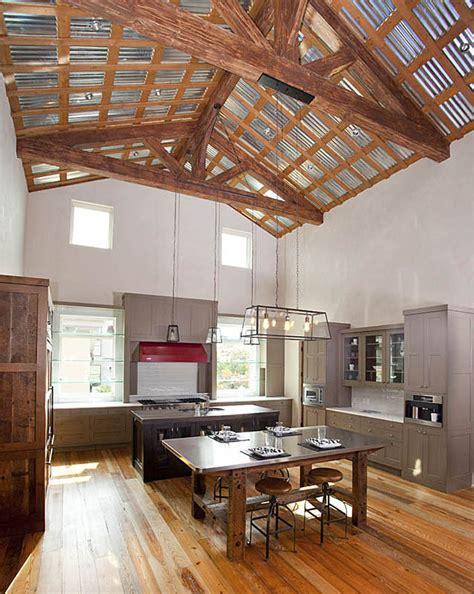 inspiring urban farmhouse  exposed timber trusses
