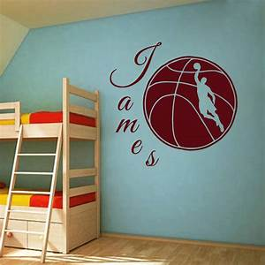 Wall decals sport basketball ball boy name decal kids for Basketball wall decals