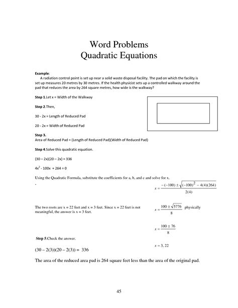 quadratic equation word problems worksheet world of reference