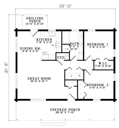 Log Style House Plan 2 Beds 1 Baths 1092 Sq/Ft Plan #17 475