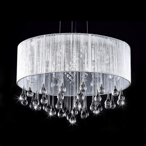 Chandelier With Sheer Drum Shade by Sheer Silver Organza Drum Shade Large Pendant Hanging