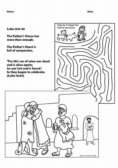 Prodigal Son Coloring Parable Bible Story Activity