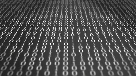 Black Image by 0 And 1 Black And White Binary Code Scrolling Through