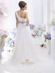 ivory one shoulder chiffon sweep train beach wedding dress With ivory beach wedding dresses
