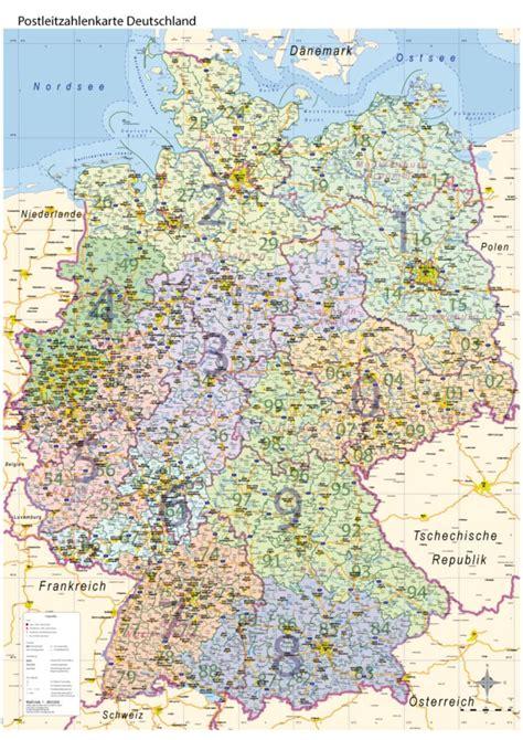 postleitzahlenkarte plz deutschland mit bundeslaendern wand