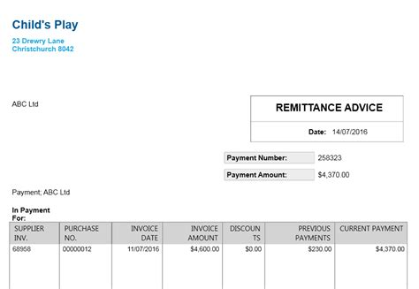 payment remittance advice template