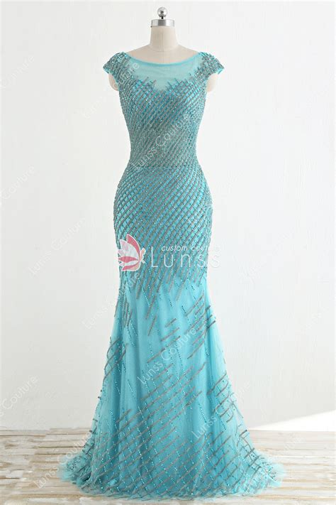 sparkling beads tiffany blue mermaid long prom dress lunss