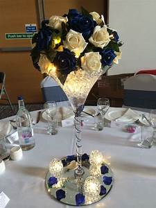 Rose, And, Martini, Vase, Centrepiece, With, Water, Pearls, And, Fairy, Lights