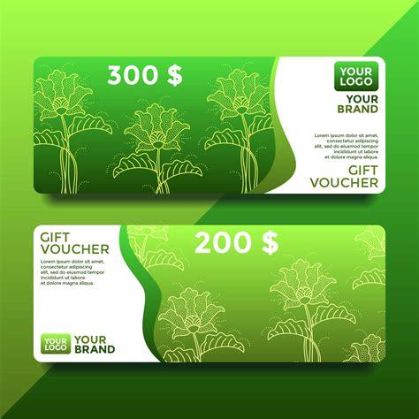 green batik gift card voucher templates vector