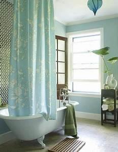 Light Blue Koi Fish Porcelain Claw Foot Tub Turquoise Blue Shower Curtain