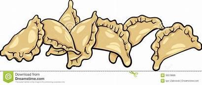 Clip Dumplings Pierogi Cartoon Clipart Dish Illustration