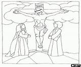 Jesus Calvary Testament Cross Coloring Pages Bible sketch template