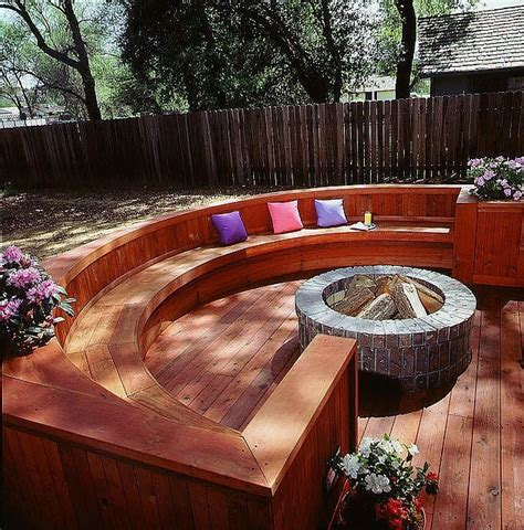 redwood deck  large seating area  built  fire pit