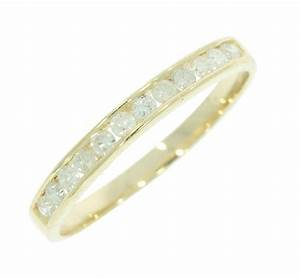 stackable 030ct real diamond 14kt gold channel set With stackable wedding ring set