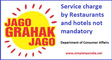 bureau of consumer affairs service charge by hotels and restaurants not mandatory