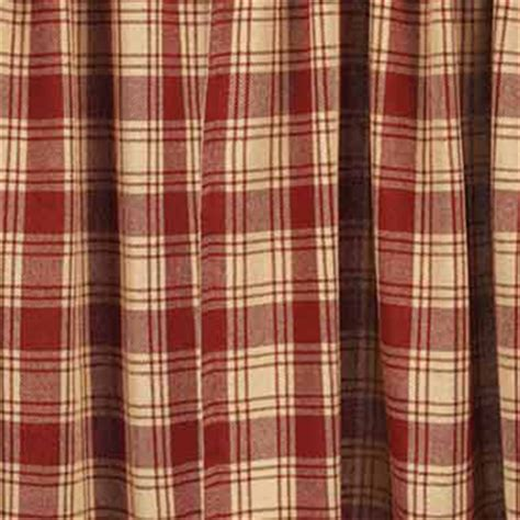 millbrook check barn red swag curtains