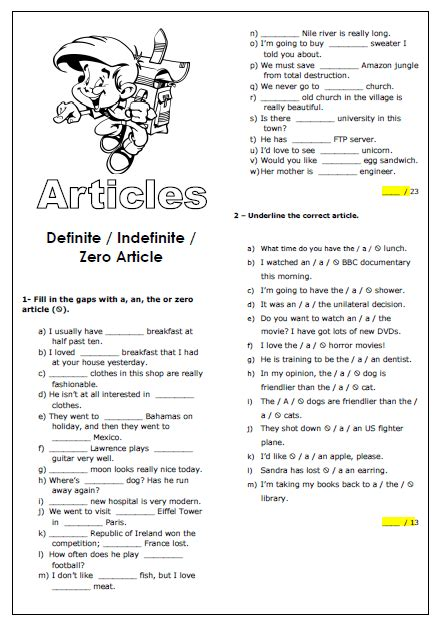 64 free definite article worksheets