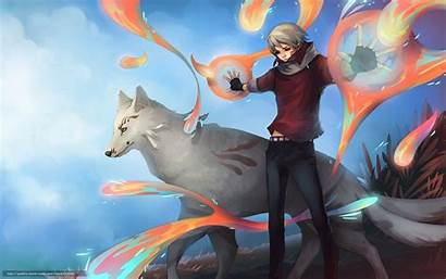 Wolf Anime Guy Magic Wallpapers Boy Fox