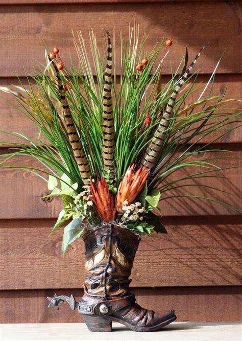 a home decor handmade western floral flower arrangement cowboy boot