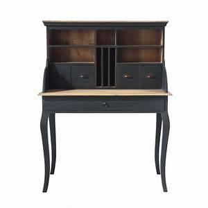 Bureau secrétaire en bois noir L 102 cm Chenonceau Maisons du Monde