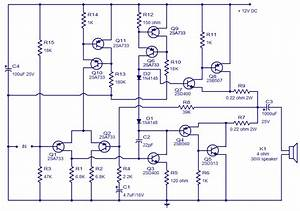 Class Ab Amplifier Circuit Operating From 12 Volts  10w